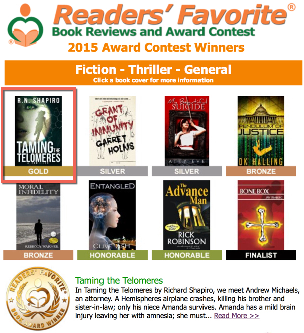 """Taming the Telomeres"" Fiction Thriller Wins Gold Award in"