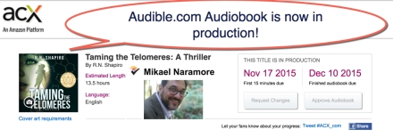audible-audio version of Taming the Telomeres in production