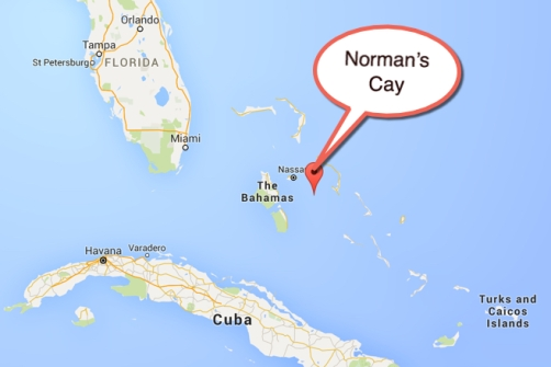 "Map location of Norman's Cay, also made famous in ""Blow"" the movie featuring Johnny Depp"